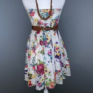 White floral Tube Dress Large
